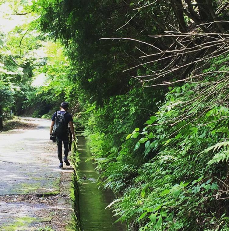 まずは林道歩き、とても暑くて「泳ぐぞー」という気分が高まります。